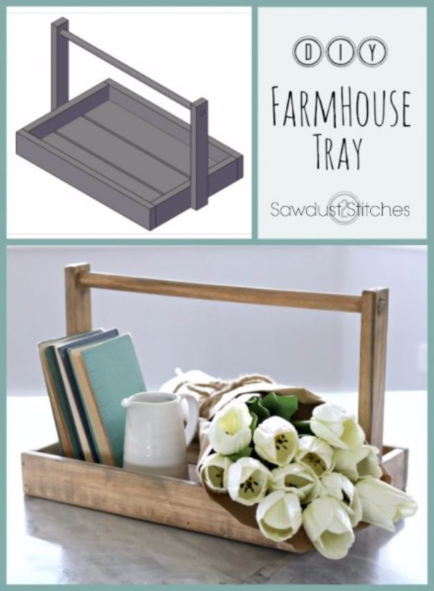 Farmhouse Decor to Make And Sell - DIY Farmhouse Tray - Easy DIY Home Decor and Rustic Craft Ideas - Step by Step Country Crafts, Farmhouse Decor To Make and Sell on Etsy and at Craft Fairs - Tutorials and Instructions for Creative Ways to Make Money - Best Vintage Farmhouse DIY For Living Room, Bedroom, Walls and Gifts #diydecor