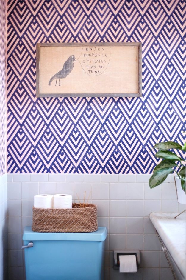 DIY Home Improvement Projects On A Budget - DIY Faux Wallpaper - Cool Home Improvement Hacks, Easy and Cheap Do It Yourself Tutorials for Updating and Renovating Your House - Home Decor Tips and Tricks, Remodeling ideas
