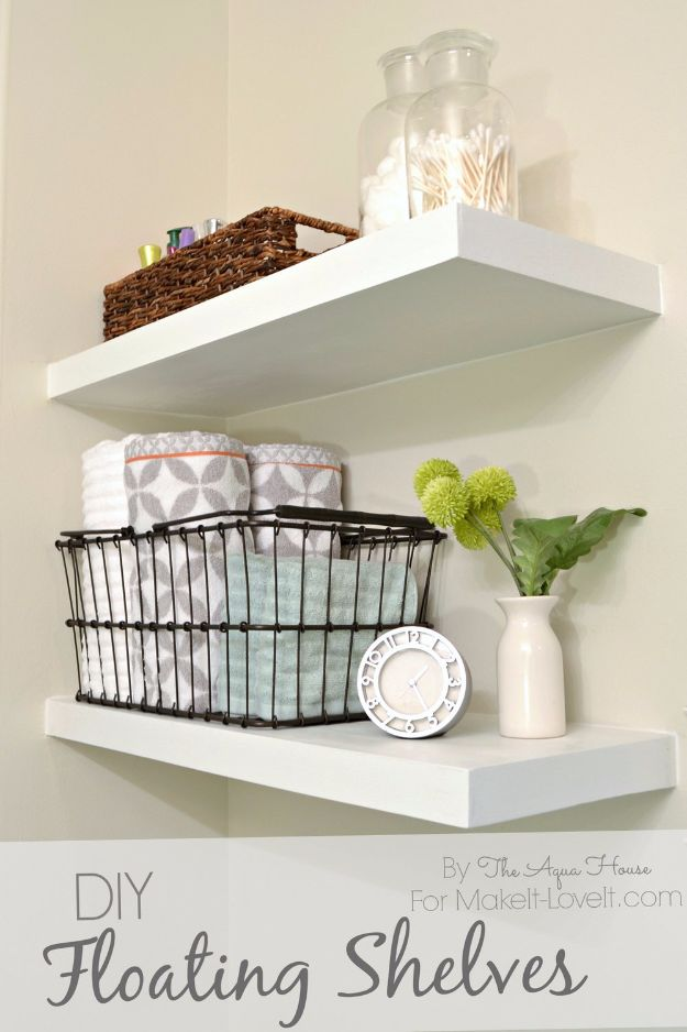 DIY Home Improvement Projects On A Budget - DIY Floating Shelves - Cool Home Improvement Hacks, Easy and Cheap Do It Yourself Tutorials for Updating and Renovating Your House - Home Decor Tips and Tricks, Remodeling and Decorating Hacks - DIY Projects and Crafts by DIY JOY http://diyjoy.com/diy-home-improvement-ideas-budget