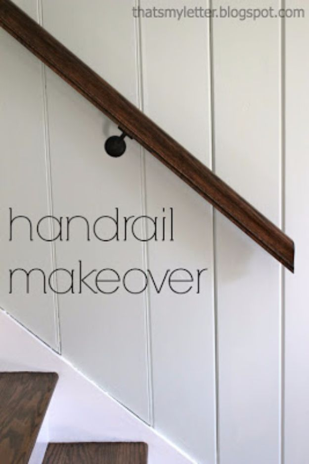 DIY Home Improvement Projects On A Budget - DIY Handrail Makeover - Cool Home Improvement Hacks, Easy and Cheap Do It Yourself Tutorials for Updating and Renovating Your House - Home Decor Tips and Tricks, Remodeling and Decorating Hacks - DIY Projects