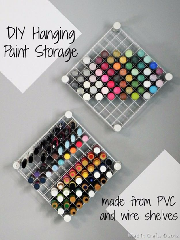 DIY Craft Room Storage Ideas and Craft Room Organization Projects - DIY Hanging Paint Storage - Cool Ideas for Do It Yourself Craft Storage, Craft Room Decor and Organizing Project Ideas - fabric, paper, pens, creative tools, crafts supplies, shelves and sewing notions #diyideas #craftroom