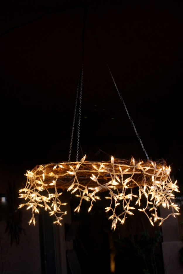 DIY Outdoor Lighting Ideas - DIY Icicle Chandelier - Do It Yourself Lighting Ideas for the Backyard, Patio, Porch and Pool - Lights, Chandeliers, Lamps and String Lights for Your Outdoors - Dining Table and Chair Lighting, Overhead, Sconces and Weatherproof Projects #diy #lighting