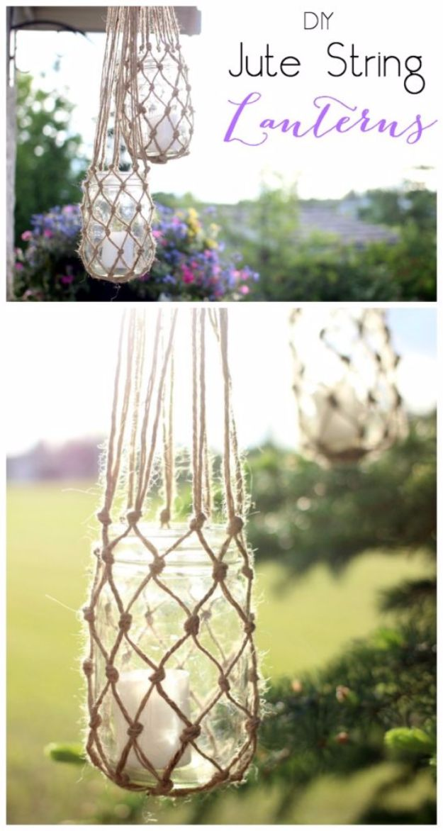 Country Crafts to Make And Sell - DIY Jute String Lanterns - Easy DIY Home Decor and Rustic Craft Ideas - Step by Step Farmhouse Decor To Make and Sell on Etsy and at Craft Fairs - Tutorials and Instructions for Creative Ways to Make Money - Best Vintage Farmhouse DIY For Living Room, Bedroom, Walls and Gifts #craftstosell #countrycrafts #etsyideas