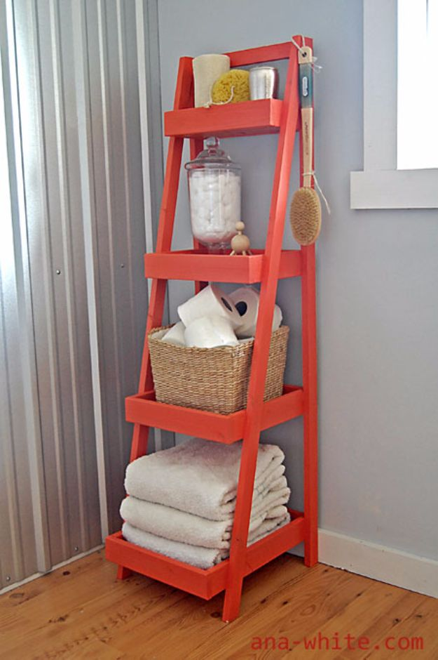 DIY Hacks for Renters - DIY Ladder Shelf - Easy Ways to Decorate and Fix Things on Rental Property - Decorate Walls, Cheap Ideas for Making an Apartment, Small Space or Tiny Closet Work For You - Quick Hacks and DIY Projects on A Budget - Step by Step Tutorials and Instructions for Simple Home Decor http://diyjoy.com/diy-hacks-renters