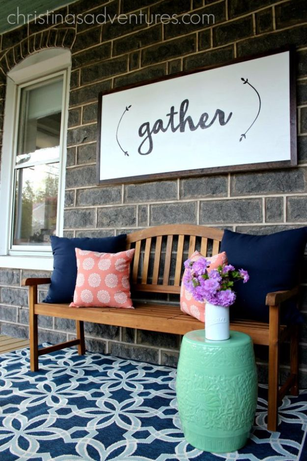 DIY Porch and Patio Ideas - DIY Large Wood Sign - Decor Projects and Furniture Tutorials You Can Build for the Outdoors - Lights and Lighting, Mason Jar Crafts, Rocking Chairs, Wreaths, Swings, Bench, Cushions, Chairs, Daybeds and Pallet Signs