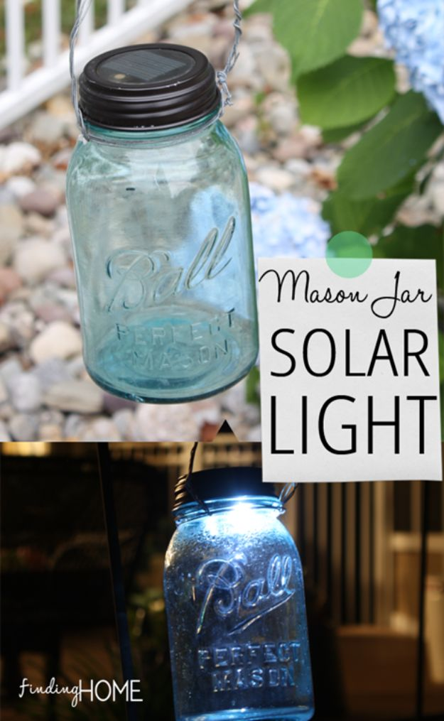 DIY Outdoor Lighting Ideas - DIY Mason Jar Solar Light - Do It Yourself Lighting Ideas for the Backyard, Patio, Porch and Pool - Lights, Chandeliers, Lamps and String Lights for Your Outdoors - Dining Table and Chair Lighting, Overhead, Sconces and Weatherproof Projects - Walkway, Pool and Garden http://diyjoy.com/diy-outdoor-lighting-ideas