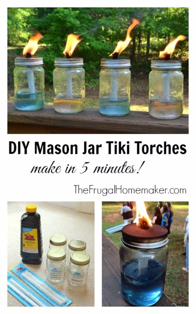 DIY Outdoor Lighting Ideas - DIY Mason Jar Tiki Torches - Do It Yourself Lighting Ideas for the Backyard, Patio, Porch and Pool - Lights, Chandeliers, Lamps and String Lights for Your Outdoors - Dining Table and Chair Lighting, Overhead, Sconces and Weatherproof Projects #diy #lighting