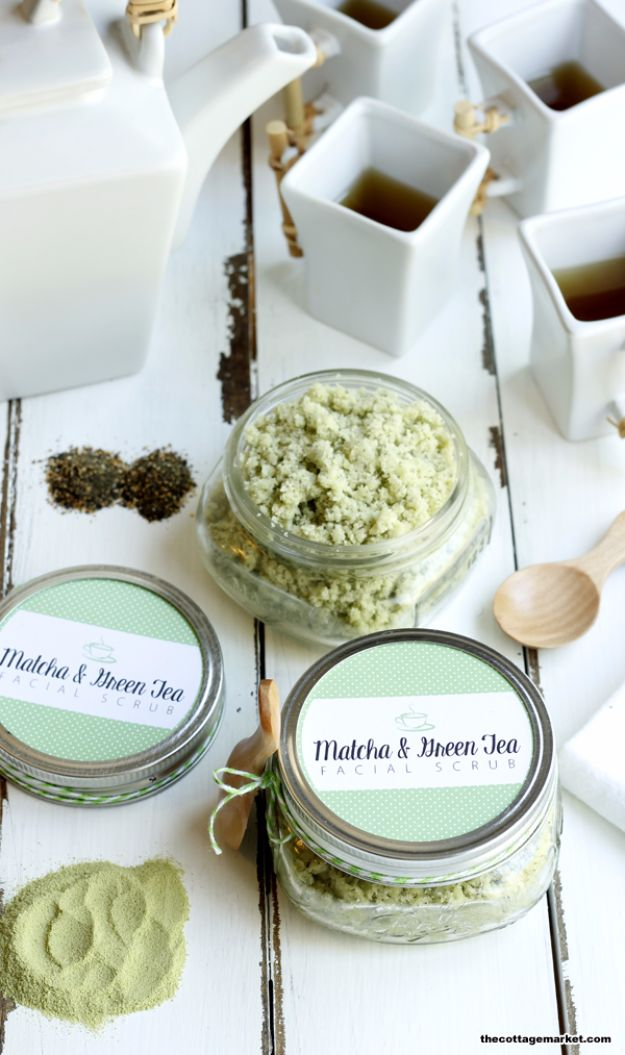 DIY Spa Day Ideas - DIY Matcha And Green Tea Facial Scrub - Easy Sugar Scrubs, Lotions and Bath Ideas for The Best Pampering You Can Do At Home - Lavender Projects, Relaxing Baths and Bath Bombs, Tub Soaks and Facials - Step by Step Tutorials for Luxury Bath Products