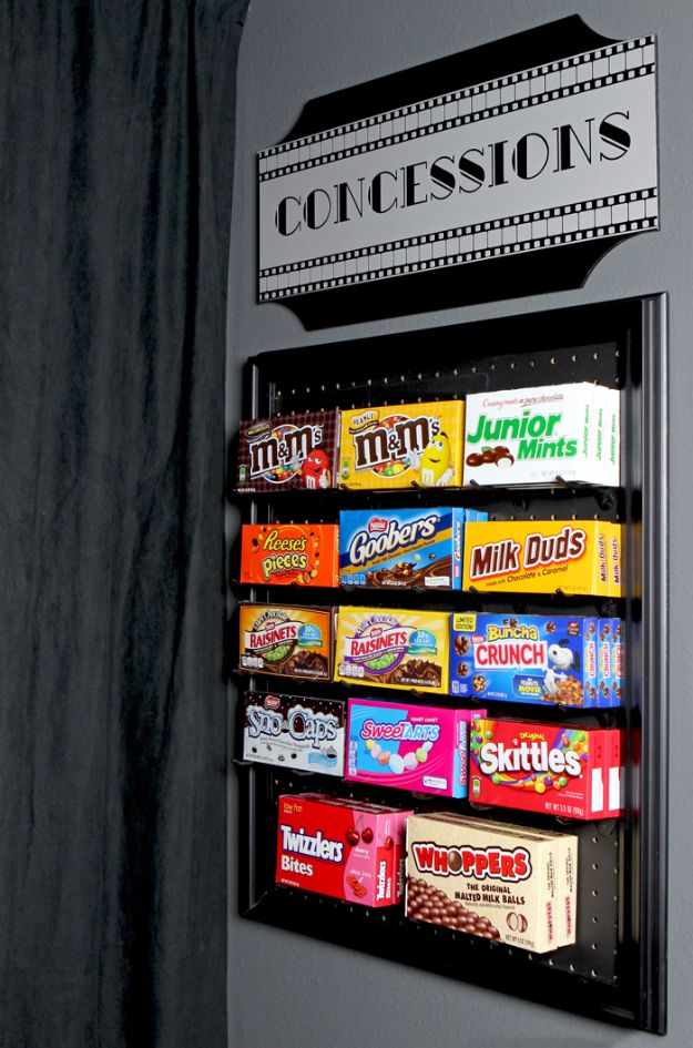DIY Media Room Ideas - DIY Media Room Candy Display - Do It Yourslef TV Consoles, Wall Art, Sofas and Seating, Chairs, TV Stands, Remote Holders and Shelving Tutorials - Creative Furniture for Movie Rooms and Video Game Stations http://diyjoy.com/diy-media-room-ideas