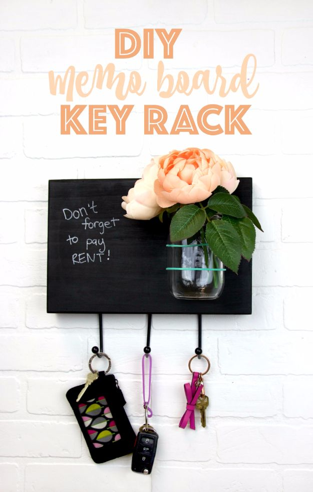 Country Crafts to Make And Sell - DIY Memo Board Key Rack - Easy DIY Home Decor and Rustic Craft Ideas - Step by Step Farmhouse Decor To Make and Sell on Etsy and at Craft Fairs - Tutorials and Instructions for Creative Ways to Make Money - Best Vintage Farmhouse DIY For Living Room, Bedroom, Walls and Gifts #craftstosell #countrycrafts #etsyideas