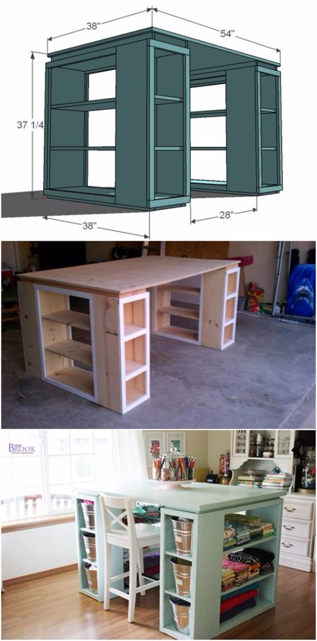 DIY Craft Room Ideas and Craft Room Organization Projects - DIY Modern Craft Table - Cool Ideas for Do It Yourself Craft Storage, Craft Room Decor and Organizing Project Ideas - fabric, paper, pens, creative tools, crafts supplies, shelves and sewing notions