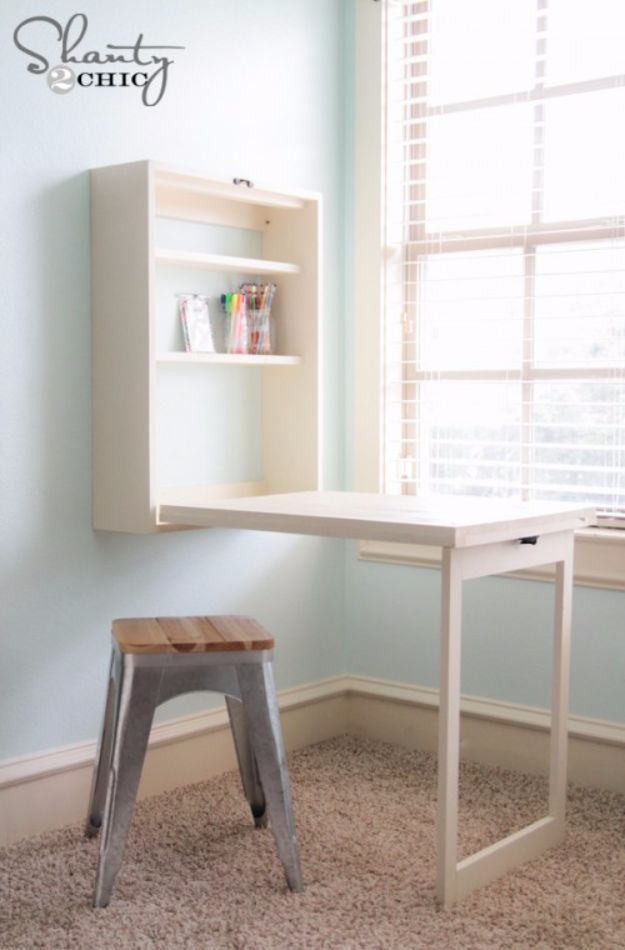 DIY Hacks for Renters - DIY Murphy Desk - Easy Ways to Decorate and Fix Things on Rental Property - Decorate Walls, Cheap Ideas for Making an Apartment, Small Space or Tiny Closet Work For You - Quick Hacks and DIY Projects on A Budget - Step by Step Tutorials and Instructions for Simple Home Decor http://diyjoy.com/diy-hacks-renters