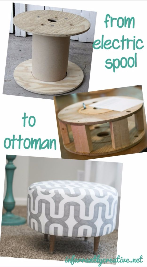 DIY Hacks for Renters - DIY Ottoman From Electric Spool - Easy Ways to Decorate and Fix Things on Rental Property - Decorate Walls, Cheap Ideas for Making an Apartment, Small Space or Tiny Closet Work For You - Quick Hacks and DIY Projects on A Budget - Step by Step Tutorials and Instructions for Simple Home Decor http://diyjoy.com/diy-hacks-renters