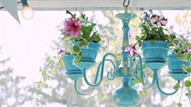 DIY Chandelier Makeovers - DIY Outdoor Chandelier Planter - Easy Ideas for Old Brass, Crystal and Ugly Gold Chandelier Makeover - Cool Before and After Projects for Chandeliers - Farmhouse, Shabby Chic and Vintage Home Decor on A Budget - Living Room, Bedroom and Dining Room Idea DIY Joy Projects and Crafts