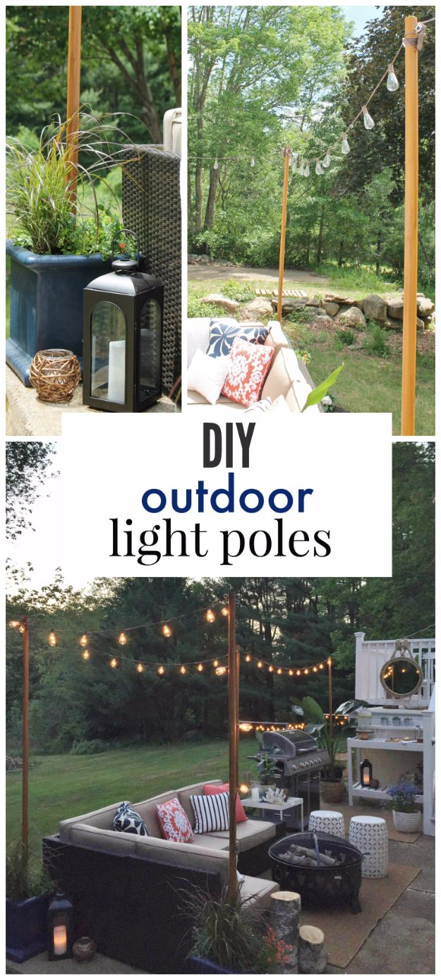 DIY Outdoor Lighting Ideas - DIY Outdoor Light Poles - Do It Yourself Lighting Ideas for the Backyard, Patio, Porch and Pool - Lights, Chandeliers, Lamps and String Lights for Your Outdoors - Dining Table and Chair Lighting, Overhead, Sconces and Weatherproof Projects #diy #lighting
