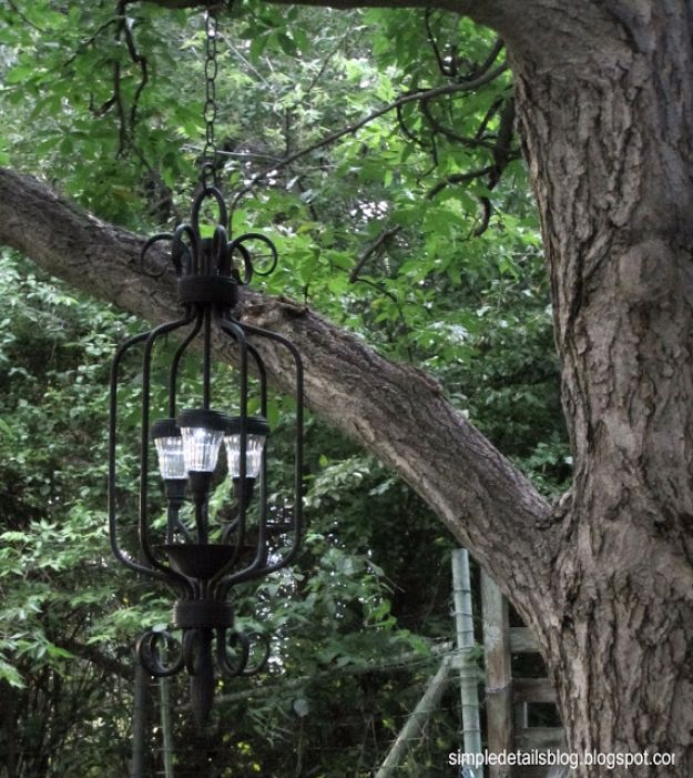 DIY Outdoor Lighting Ideas - DIY Outdoor Solar Chandelier - Do It Yourself Lighting Ideas for the Backyard, Patio, Porch and Pool - Lights, Chandeliers, Lamps and String Lights for Your Outdoors - Dining Table and Chair Lighting, Overhead, Sconces and Weatherproof Projects #diy #lighting