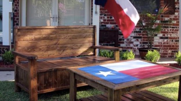 DIY Porch and Patio Ideas - DIY Pallet Bench With Storage - Decor Projects and Furniture Tutorials You Can Build for the Outdoors - Lights and Lighting, Mason Jar Crafts, Rocking Chairs, Wreaths, Swings, Bench, Cushions, Chairs, Daybeds and Pallet Signs