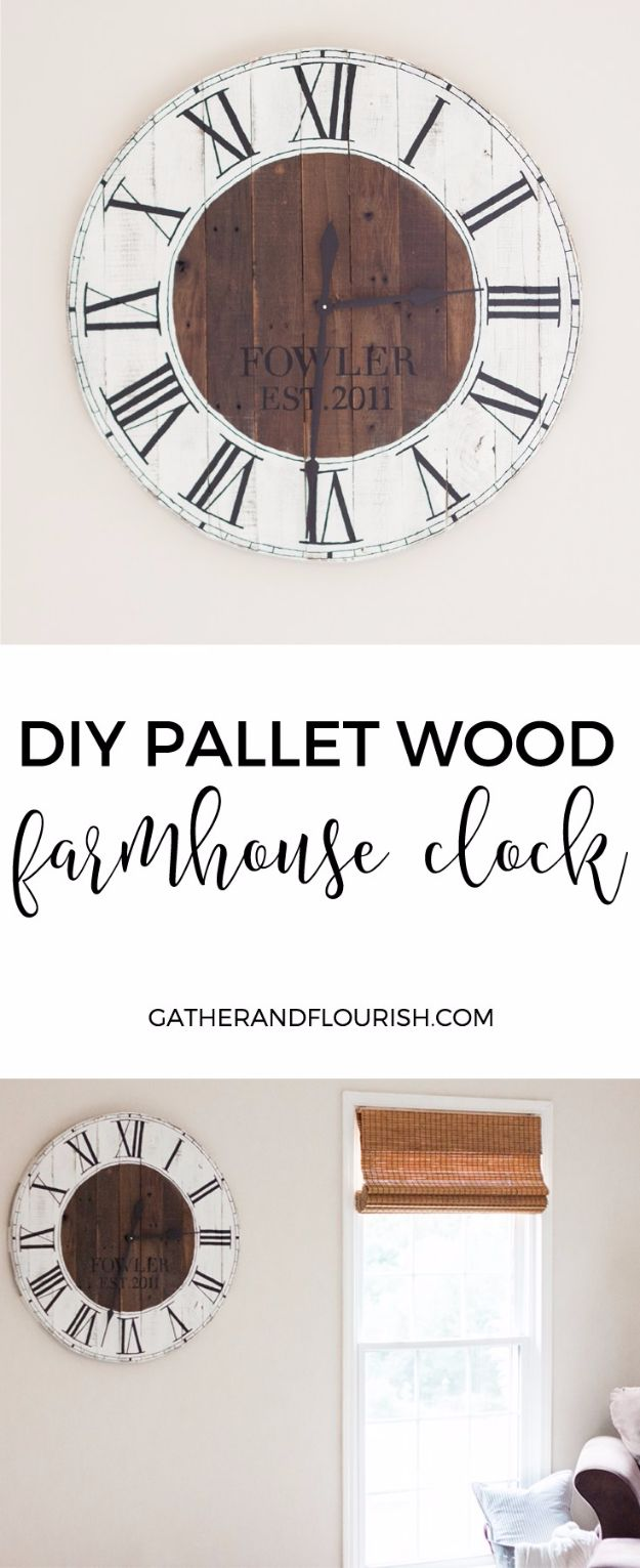 Farmhouse Decor to Make And Sell - DIY Pallet Wood Farmhouse Clock - Easy DIY Home Decor and Rustic Craft Ideas - Step by Step Country Crafts, Farmhouse Decor To Make and Sell on Etsy and at Craft Fairs - Tutorials and Instructions for Creative Ways to Make Money - Best Vintage Farmhouse DIY For Living Room, Bedroom, Walls and Gifts #diydecor