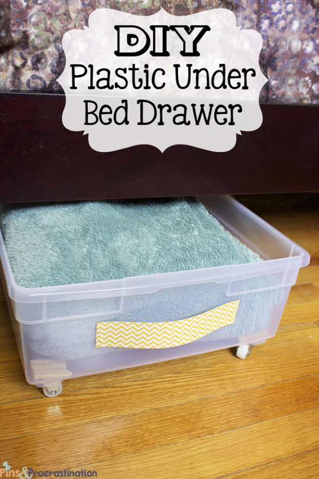 DIY Hacks for Renters - DIY Plastic Under Bed Drawer - Easy Ways to Decorate and Fix Things on Rental Property - Decorate Walls, Cheap Ideas for Making an Apartment, Small Space or Tiny Closet Work For You - Quick Hacks and DIY Projects on A Budget - Step by Step Tutorials and Instructions for Simple Home Decor http://diyjoy.com/diy-hacks-renters