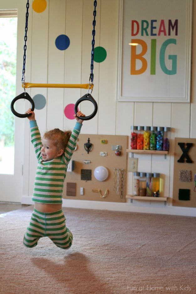 DIY Playroom Ideas and Furniture - DIY Playroom Indoor Swing - Easy Play Room Storage, Furniture Ideas for Kids, Playtime Rugs and Activity Mats, Shelving, Toy Boxes and Wall Art - Cute DIY Room Decor for Boys and Girls - Fun Crafts with Step by Step Tutorials and Instructions http://diyjoy.com/diy-playroom-ideas