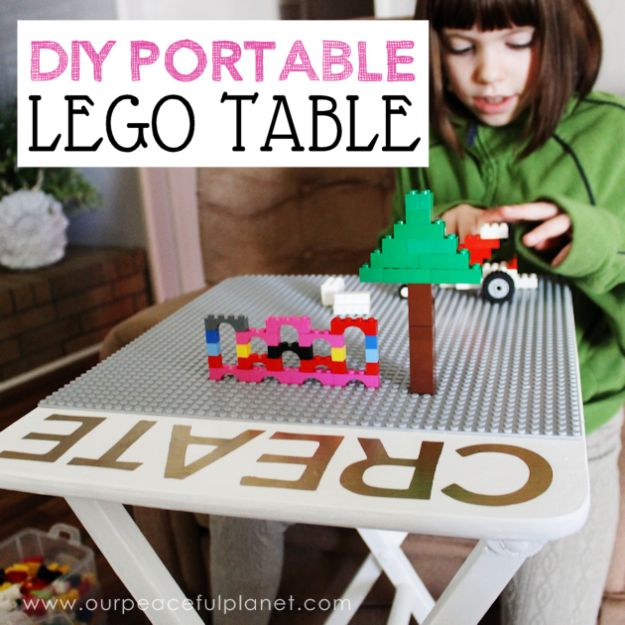 DIY Playroom Ideas and Furniture - DIY Portable Lego Table - Easy Play Room Storage, Furniture Ideas for Kids, Playtime Rugs and Activity Mats, Shelving, Toy Boxes and Wall Art - Cute DIY Room Decor for Boys and Girls - Fun Crafts with Step by Step Tutorials and Instructions http://diyjoy.com/diy-playroom-ideas