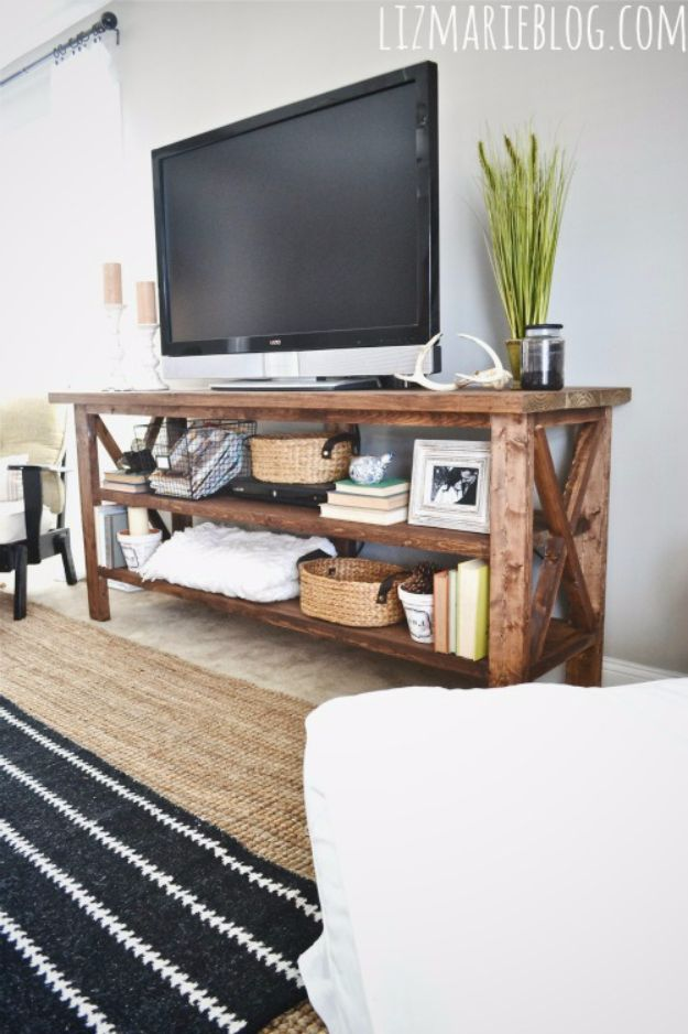 DIY Media Room Ideas - DIY RUstic TV Console - Do It Yourslef TV Consoles, Wall Art, Sofas and Seating, Chairs, TV Stands, Remote Holders and Shelving Tutorials - Creative Furniture for Movie Rooms and Video Game Stations #mediaroom #diydecor