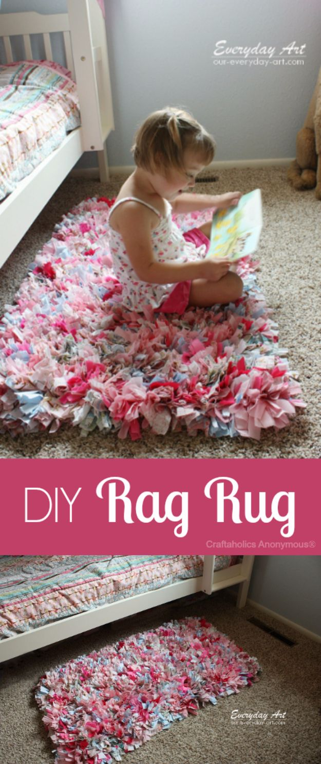 DIY Playroom Ideas and Furniture - DIY Rag Rug - Easy Play Room Storage, Furniture Ideas for Kids, Playtime Rugs and Activity Mats, Shelving, Toy Boxes and Wall Art - Cute DIY Room Decor for Boys and Girls - Fun Crafts with Step by Step Tutorials and Instructions http://diyjoy.com/diy-playroom-ideas