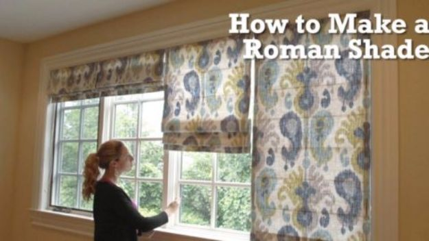 DIY Home Improvement Projects On A Budget - DIY Roman Shade - Cool Home Improvement Hacks, Easy and Cheap Do It Yourself Tutorials for Updating and Renovating Your House - Home Decor Tips and Tricks, Remodeling and Decorating Hacks - DIY Projects