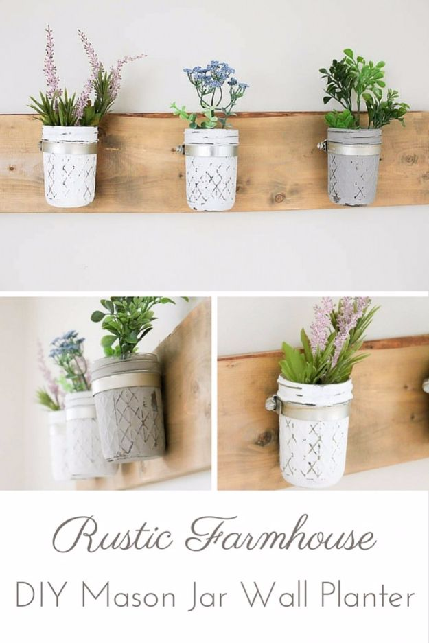 Farmhouse Decor To Make And Sell   DIY Rustic Farmhouse Mason Jar Planter    Easy DIY