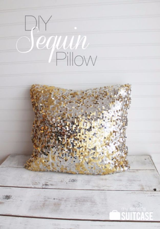 DIY Hacks for Renters - DIY Sequin Pillow - Easy Ways to Decorate and Fix Things on Rental Property - Decorate Walls, Cheap Ideas for Making an Apartment, Small Space or Tiny Closet Work For You - Quick Hacks and DIY Projects on A Budget - Step by Step Tutorials and Instructions for Simple Home Decor http://diyjoy.com/diy-hacks-renters