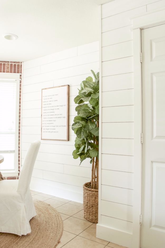 DIY Home Improvement Projects On A Budget - DIY Shiplap Walls - Cool Home Improvement Hacks, Easy and Cheap Do It Yourself Tutorials for Updating and Renovating Your House - Home Decor Tips and Tricks, Remodeling and Decorating Hacks - DIY Projects and Crafts by DIY JOY http://diyjoy.com/home-improvement-ideas-budget