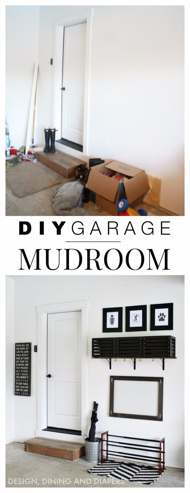 DIY Projects Your Garage Needs - DIY Simple Garage Mudroom - Do It Yourself Garage Makeover Ideas Include Storage, Mudroom, Organization, Shelves, and Project Plans for Cool New Garage Decor - Easy Home Decor on A Budget http://diyjoy.com/diy-garage-ideas