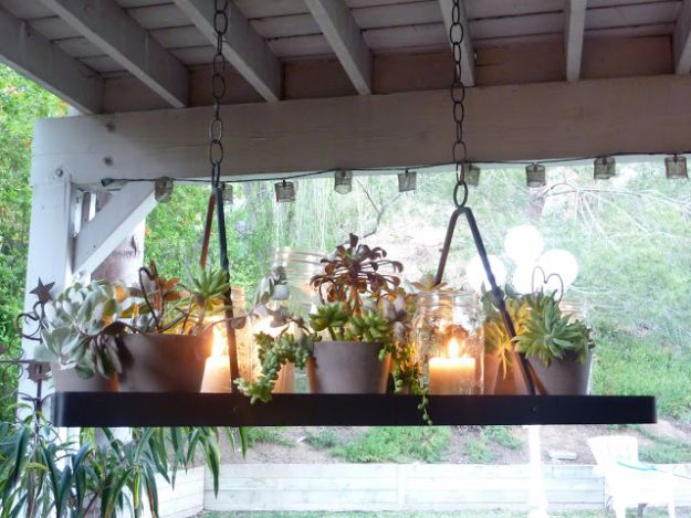 DIY Outdoor Lighting Ideas - DIY Succulent Chandelier - Do It Yourself Lighting Ideas for the Backyard, Patio, Porch and Pool - Lights, Chandeliers, Lamps and String Lights for Your Outdoors - Dining Table and Chair Lighting, Overhead, Sconces and Weatherproof Projects - Walkway, Pool and Garden http://diyjoy.com/diy-outdoor-lighting-ideas