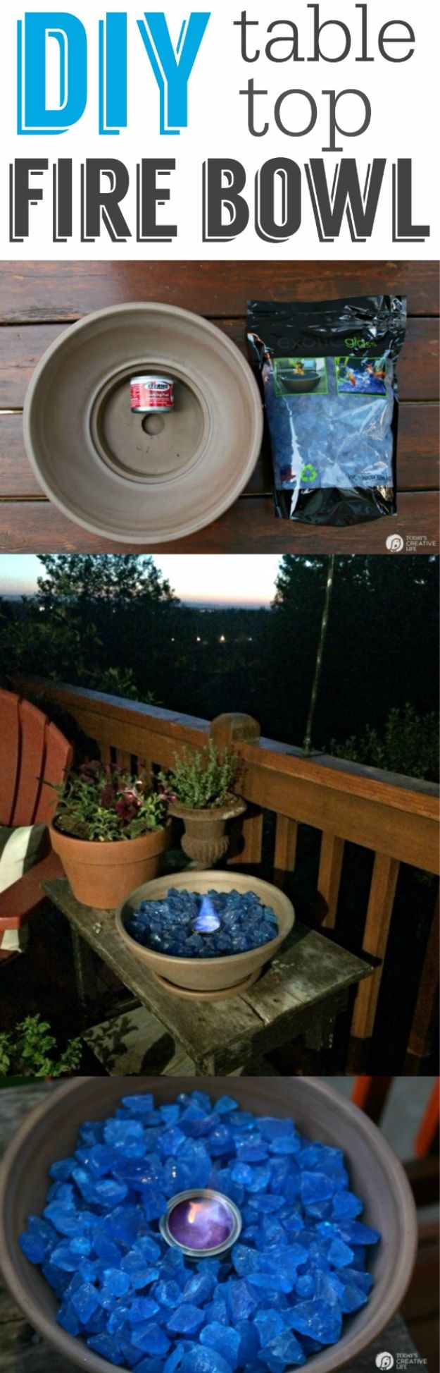 DIY Porch and Patio Ideas - DIY Tabletop Fire Bowl - Decor Projects and Furniture Tutorials You Can Build for the Outdoors - Lights and Lighting, Mason Jar Crafts, Rocking Chairs, Wreaths, Swings, Bench, Cushions, Chairs, Daybeds and Pallet Signs