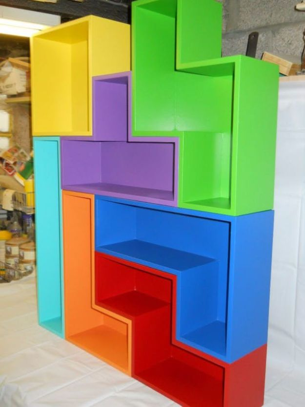 DIY Media Room Ideas - DIY Tetris Shelves - Do It Yourslef TV Consoles, Wall Art, Sofas and Seating, Chairs, TV Stands, Remote Holders and Shelving Tutorials - Creative Furniture for Movie Rooms and Video Game Stations #mediaroom #diydecor