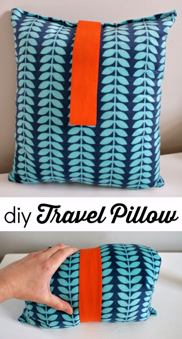 Best DIY Ideas for a Summer Road Trip - DIY Travel Pillow - Cool Crafts and Easy Projects to Make For Road Trips in the Car - Fun Crafts to Make for Vacation - Creative Ideas for Making Cheap Travel Ideas With Creative Money Saving Tips http://diyjoy.com/diy-ideas-summer-road-trip