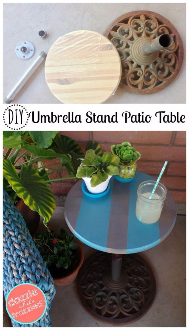 DIY Porch and Patio Ideas - DIY Umbrella Stand Into An Easy Patio Side Table - Decor Projects and Furniture Tutorials You Can Build for the Outdoors - Lights and Lighting, Mason Jar Crafts, Rocking Chairs, Wreaths, Swings, Bench, Cushions, Chairs, Daybeds and Pallet Signs http://diyjoy.com/diy-porch-patio-decor