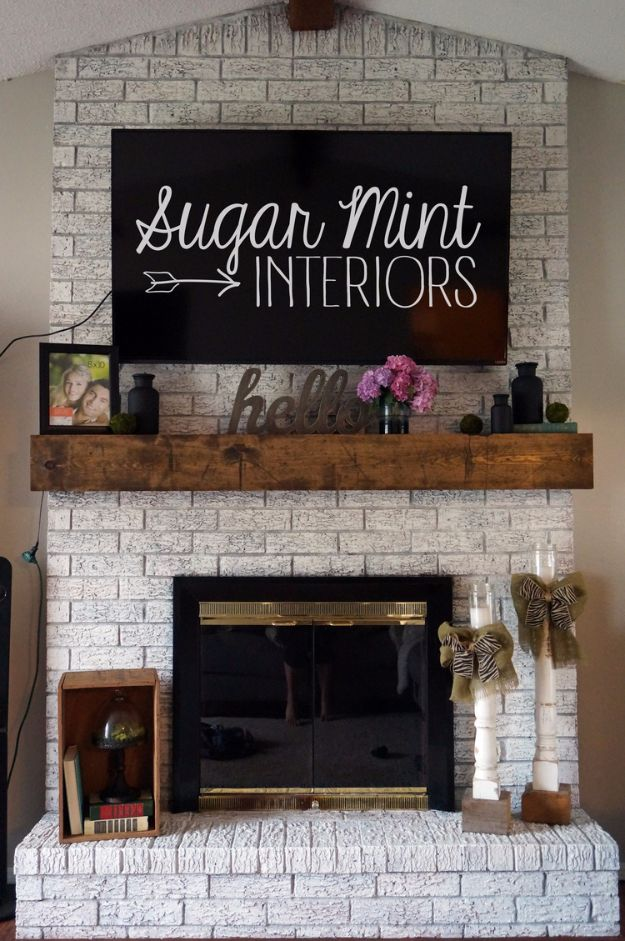DIY Home Improvement Projects On A Budget - DIY Whitewashed Fireplace - Cool Home Improvement Hacks, Easy and Cheap Do It Yourself Tutorials for Updating and Renovating Your House - Home Decor Tips and Tricks, Remodeling and Decorating Hacks - DIY Projects