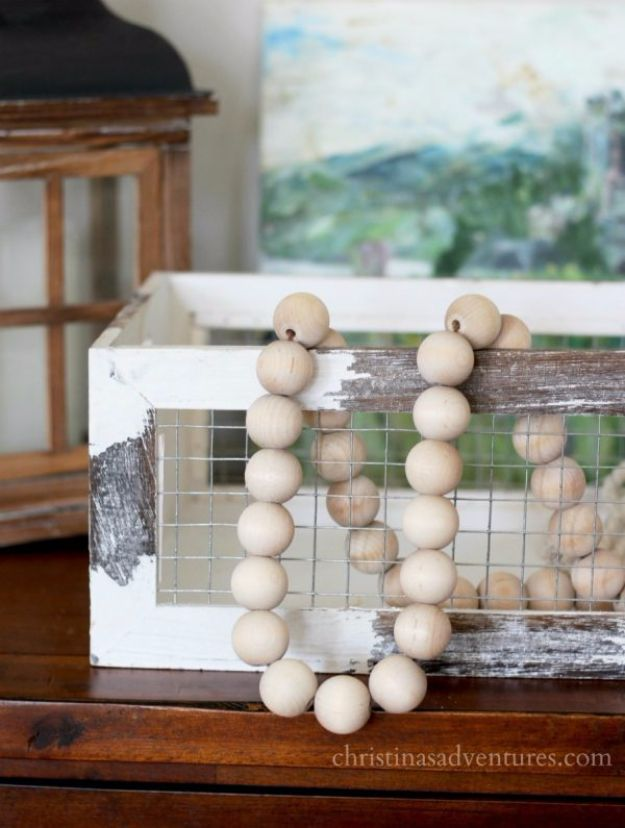 Farmhouse Decor to Make And Sell - DIY Wood Bead Garland - Easy DIY Home Decor and Rustic Craft Ideas - Step by Step Country Crafts, Farmhouse Decor To Make and Sell on Etsy and at Craft Fairs - Tutorials and Instructions for Creative Ways to Make Money - Best Vintage Farmhouse DIY For Living Room, Bedroom, Walls and Gifts #diydecor