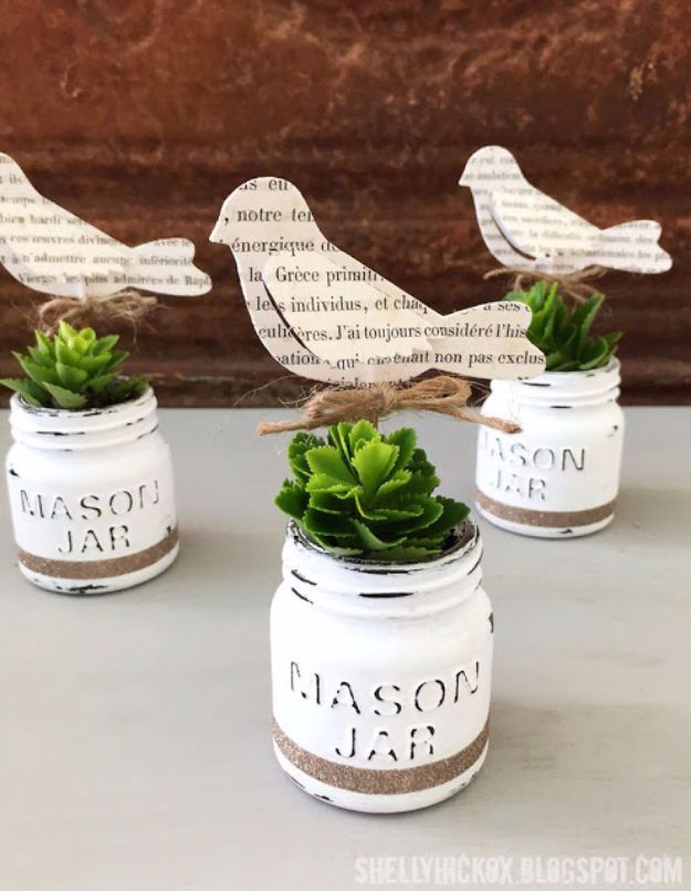 Country Crafts to Make And Sell - DecoArt Chalk Paint Mini Mason Jar Planters - Easy DIY Home Decor and Rustic Craft Ideas - Step by Step Farmhouse Decor To Make and Sell on Etsy and at Craft Fairs - Tutorials and Instructions for Creative Ways to Make Money - Best Vintage Farmhouse DIY For Living Room, Bedroom, Walls and Gifts #craftstosell #countrycrafts #etsyideas