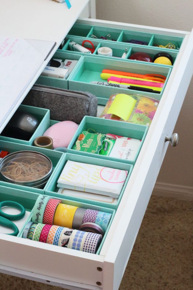DIY Craft Room Storage Ideas and Craft Room Organization Projects - Desk Drawer Storage - Cool Ideas for Do It Yourself Craft Storage, Craft Room Decor and Organizing Project Ideas - fabric, paper, pens, creative tools, crafts supplies, shelves and sewing notions http://diyjoy.com/diy-craft-room-storage
