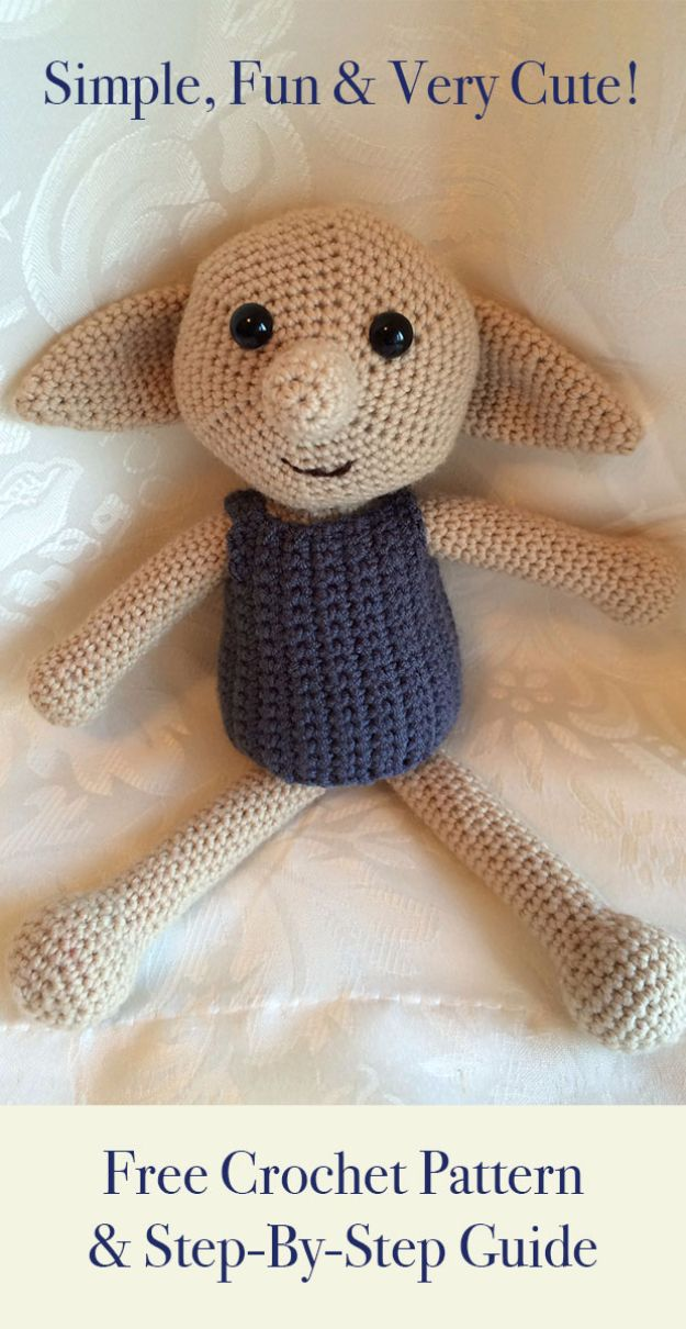Free Amigurumi Patterns For Beginners and Pros - Dobby The House Elf Toy - Easy Amigurimi Tutorials With Step by Step Instructions - Learn How To Crochet Cute Amigurimi Animals, Doll, Mobile, Mini Elephant, Cat, Dinosaur, Owl, Bunny, Dog - Creative Ways to Crochet Cool DIY Gifts for Kids, Teens, Baby and Adults http://diyjoy.com/free-amigurumi-patterns
