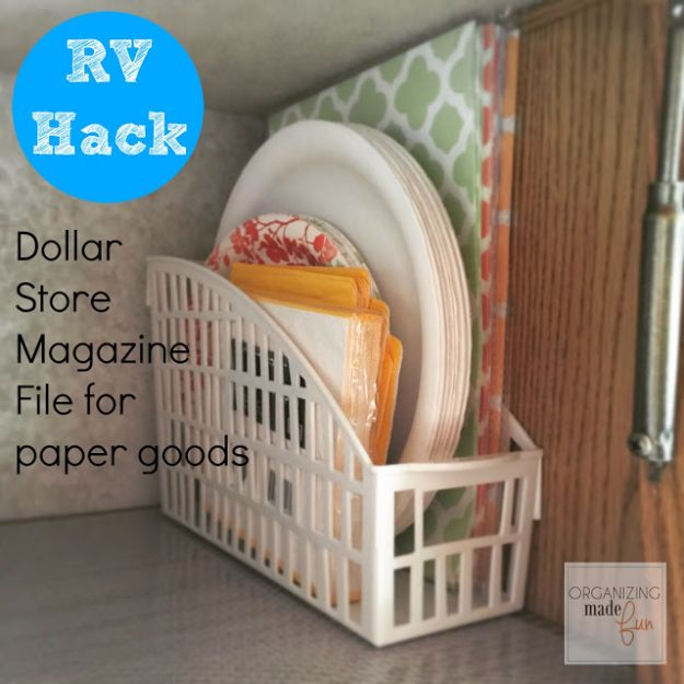 DIY Camping Hacks - Dollar Store Magazine File For Paper Goods - Easy Tips and Tricks, Recipes for Camping - Gear Ideas, Cheap Camping Supplies, Tutorials for Making Quick Camping Food, Fire Starters, Gear Holders and More http://diyjoy.com/camping-hacks