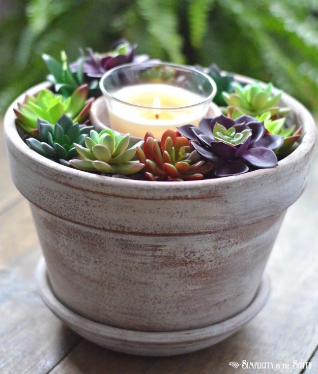 DIY Porch and Patio Ideas - Dollar Tree Succulent Candle Centerpiece - Decor Projects and Furniture Tutorials You Can Build for the Outdoors - Lights and Lighting, Mason Jar Crafts, Rocking Chairs, Wreaths, Swings, Bench, Cushions, Chairs, Daybeds and Pallet Signs http://diyjoy.com/diy-porch-patio-decor