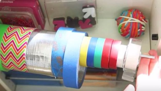 DIY Craft Room Storage Ideas and Craft Room Organization Projects - Dowel Ribbon Organizer - Cool Ideas for Do It Yourself Craft Storage, Craft Room Decor and Organizing Project Ideas - fabric, paper, pens, creative tools, crafts supplies, shelves and sewing notions #diyideas #craftroom