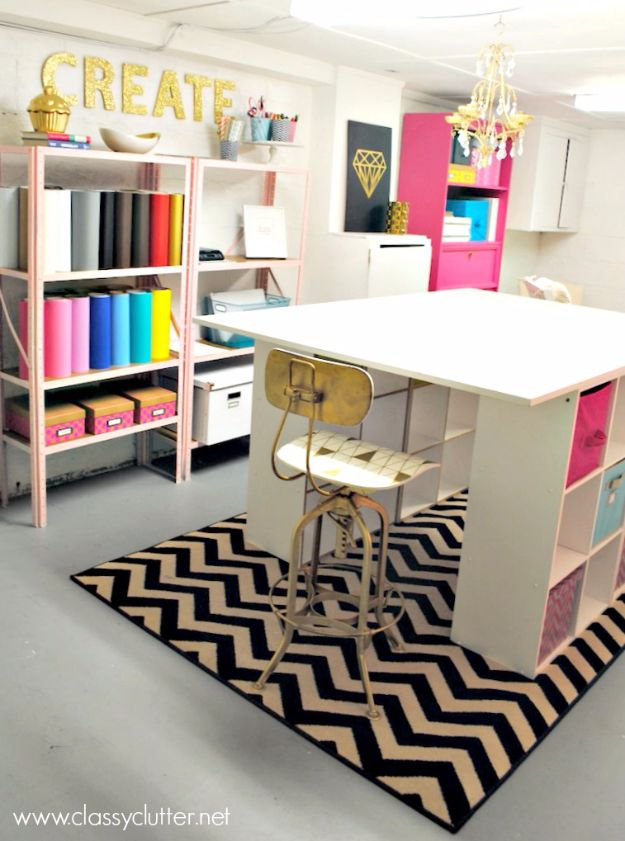 DIY Craft Room Ideas and Craft Room Organization Projects - Downstairs Craft Area - Cool Ideas for Do It Yourself Craft Storage, Craft Room Decor and Organizing Project Ideas - fabric, paper, pens, creative tools, crafts supplies, shelves and sewing notions