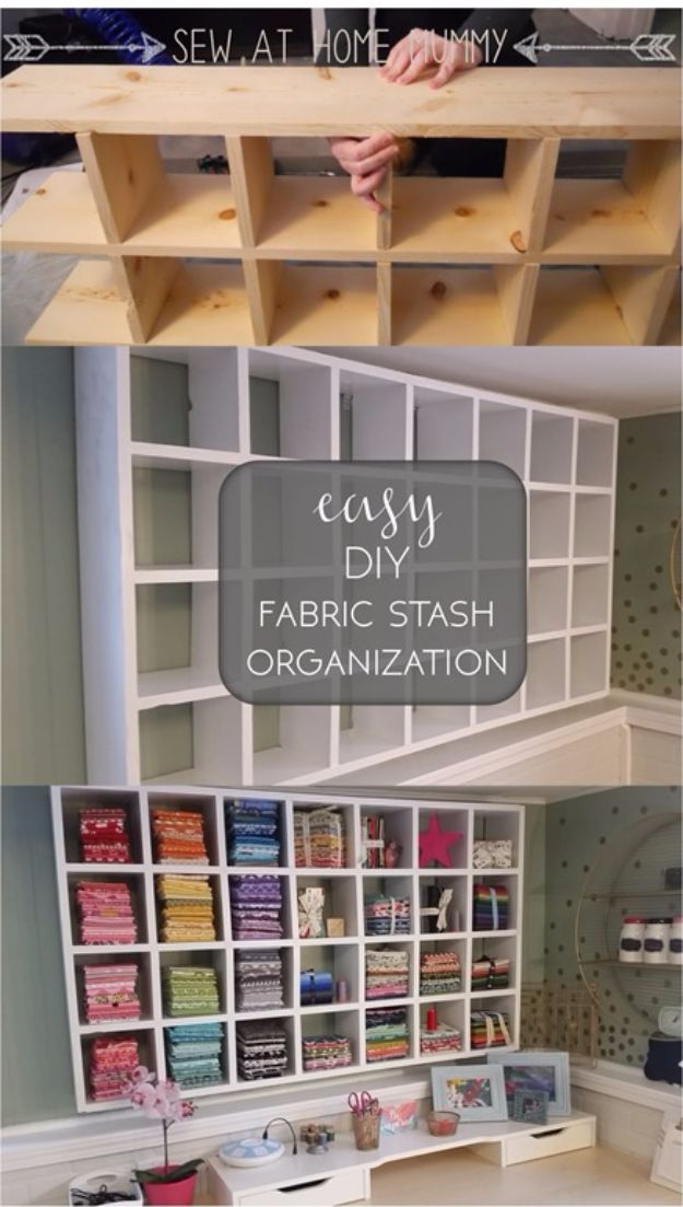 DIY Craft Room Storage Ideas and Craft Room Organization Projects - Easy DIY Fabric Stash Organization - Cool Ideas for Do It Yourself Craft Storage, Craft Room Decor and Organizing Project Ideas - fabric, paper, pens, creative tools, crafts supplies, shelves and sewing notions http://diyjoy.com/diy-craft-room-storage