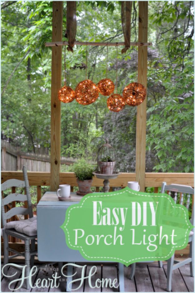 DIY Outdoor Lighting Ideas - Easy DIY Porch Light - Do It Yourself Lighting Ideas for the Backyard, Patio, Porch and Pool - Lights, Chandeliers, Lamps and String Lights for Your Outdoors - Dining Table and Chair Lighting, Overhead, Sconces and Weatherproof Projects - Walkway, Pool and Garden http://diyjoy.com/diy-outdoor-lighting-ideas