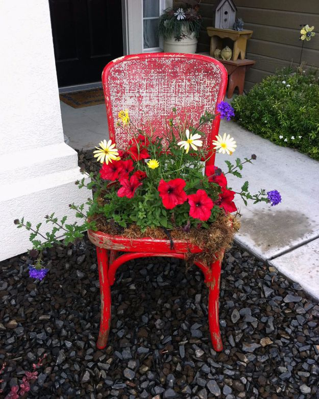 DIY Porch and Patio Ideas - Easy DIY Upcycled Chair Planter - Decor Projects and Furniture Tutorials You Can Build for the Outdoors - Lights and Lighting, Mason Jar Crafts, Rocking Chairs, Wreaths, Swings, Bench, Cushions, Chairs, Daybeds and Pallet Signs http://diyjoy.com/diy-porch-patio-decor