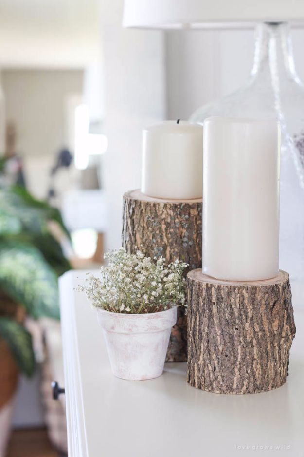 Farmhouse Decor to Make And Sell - Easy Log Candleholder - Easy DIY Home Decor and Rustic Craft Ideas - Step by Step Country Crafts, Farmhouse Decor To Make and Sell on Etsy and at Craft Fairs - Tutorials and Instructions for Creative Ways to Make Money - Best Vintage Farmhouse DIY For Living Room, Bedroom, Walls and Gifts #diydecor